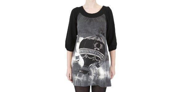 Dámské šaty s černo-bílým potiskem Ginger and Soul