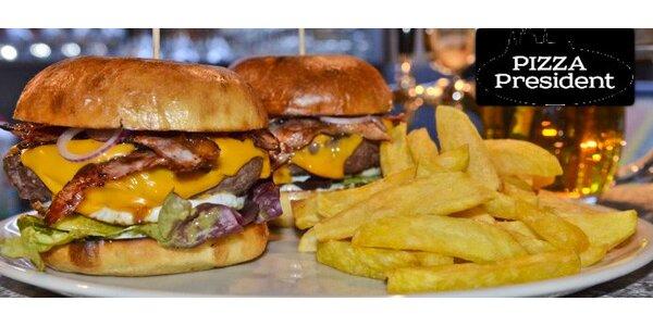 Dva hovězí burgery plus hranolky