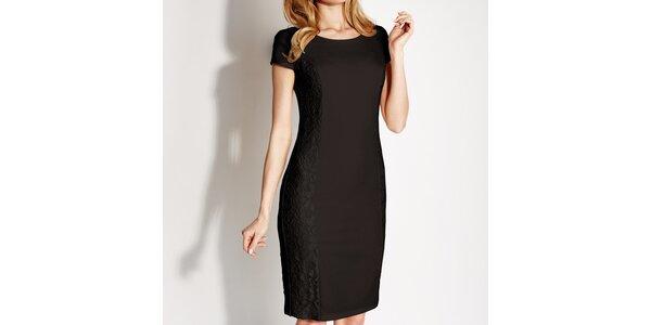 Dámské černé krajkové pouzdrové šaty Rylko