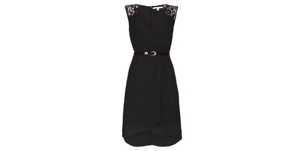 Dámské černé šaty s krajkovými rameny Uttam Boutique