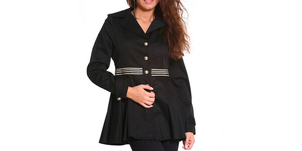 Dámský černý krátký kabát s bílými proužky Vera Ravenna