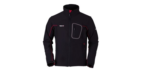 Pánská černá softshellová bunda s červenými prvky Izas