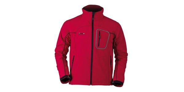 Pánská červená softshellová bunda s černými prvky Izas