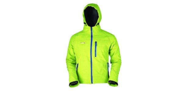 Pánská světle zelená softshellová bunda s modrým zipem Izas