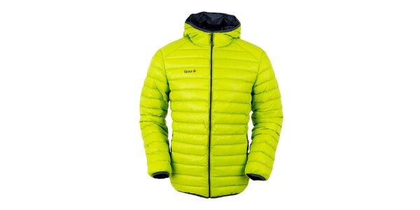 Pánská limetkově zelená péřová bunda s kapucí Izas