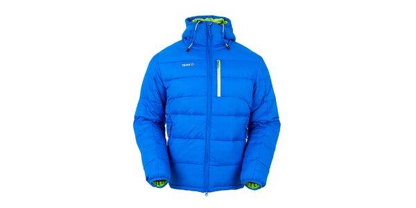 Pánská modrá péřová bunda se zelenými prvky Izas