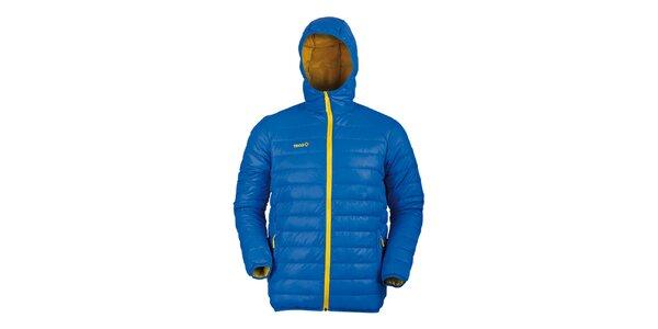 Pánská modrá péřová bunda se žlutými detaily Izas