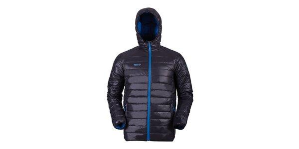 Pánská černá péřová bunda s modrými detaily Izas