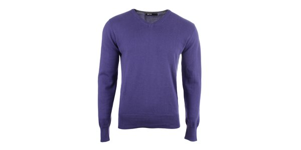 Pánský fialový svetr s véčkovým výstřihem Big Star