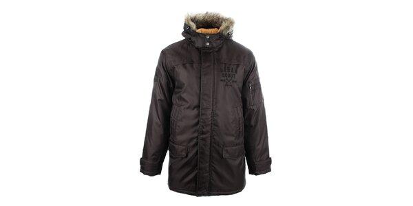 Pánský hnědý kabát s kožíškem Big Star