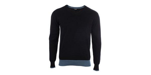Pánský černý svetr s véčkovým výstřihem Big Star