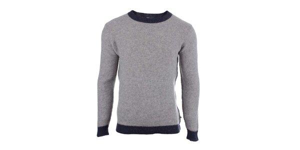 Pánský šedý svetr s kontrastním lemováním Big Star