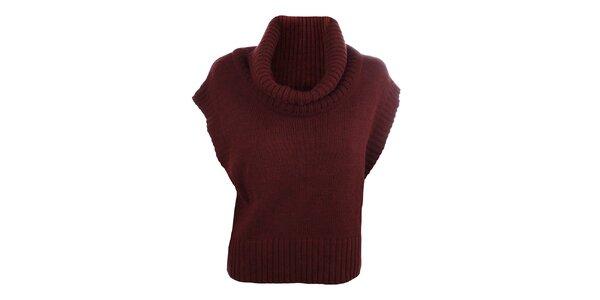 Dámský vínový pletený svetr bez rukávů Big Star