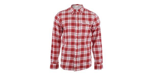 Pánská červená košile s kostkovaným vzorem Big Star f8e4f3a7bd