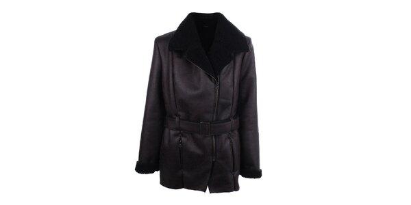 Pánský tmavý kabát z umělé kůže Big Star
