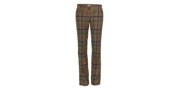 Kárované vlněné dámské kalhoty Naf Naf