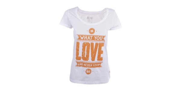 Dámské bílé tričko s oranžovým potiskem Big Star