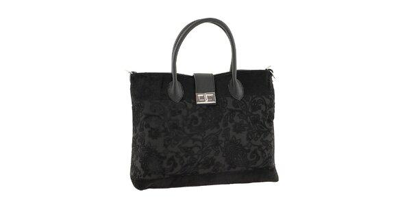 Dámská černá kabelka s květinovým vzorem Classe regina