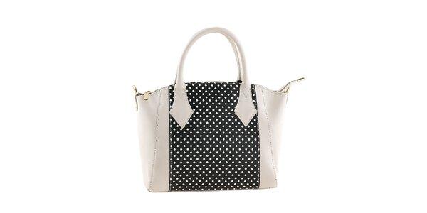 Dámská bílo-černá kabelka s puntíky Classe regina