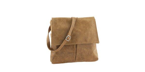 Dámská medově hnědá kožená kabelka s klopou Classe Regina
