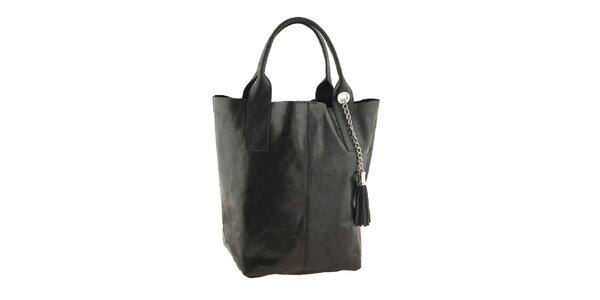 Dámská černá kožená kabelka se střapcem Classe Regina