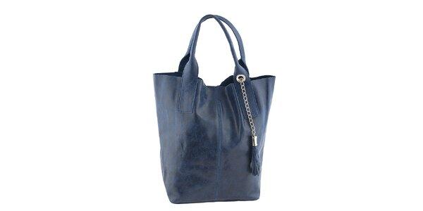 Dámská modrá kožená kabelka se střapcem Classe Regina