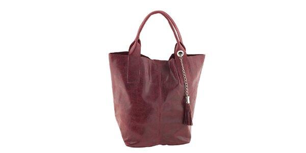 Dámská červená kožená kabelka se střapcem Classe Regina