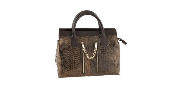 Dámská bronzovo-hnědá kabelka s motivem hadí kůže Classe regina