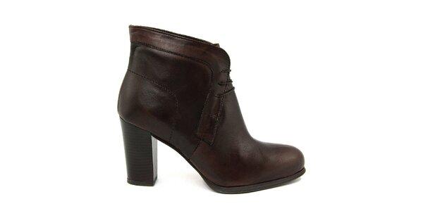 Dámské tmavě hnědé kotníčkové boty Paola Ferri