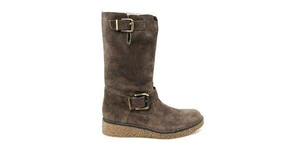 Dámské tmavě hnědé boty s kožíškem Paola Ferri