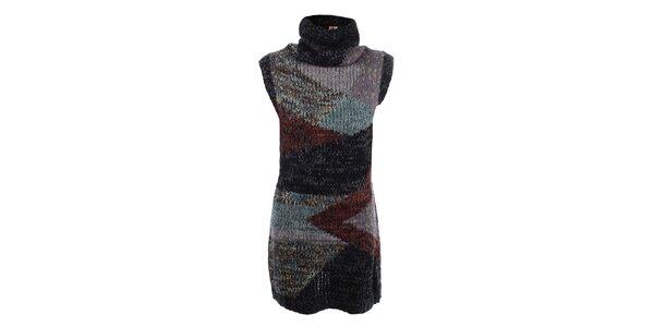Dámské tmavé pletené šaty s rolákem Dislay DY Design