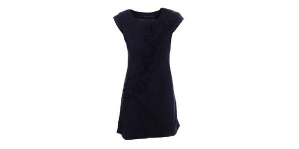 Dámské tmavě modré šaty s dekorativní aplikací Dislay DY Design
