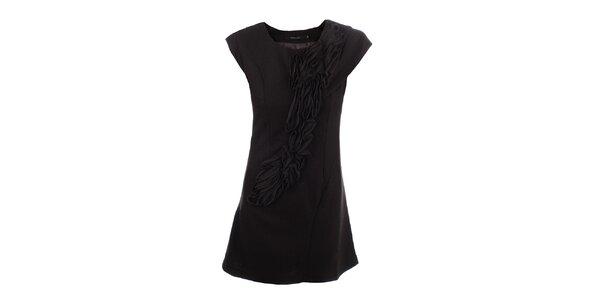 Dámské tmavě hnědé šaty s dekorativní aplikací Dislay DY Design