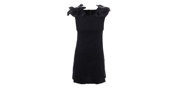 Dámské černé šaty s ozdobnými rameny Dislay DY Design