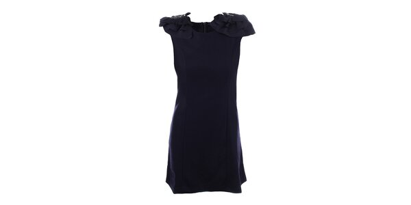 Dámské tmavě modré šaty s ozdobnými rameny Dislay DY Design