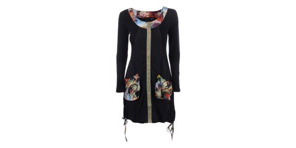 Dámské černé šaty s barevným zipem Dislay DY Design