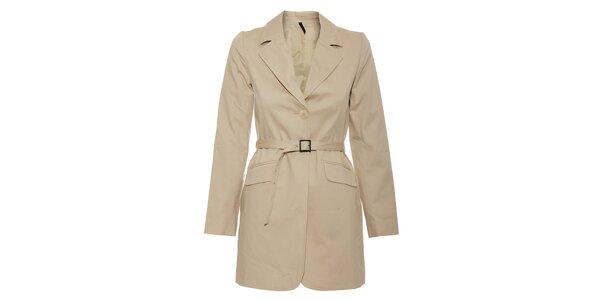 Béžový dámský jarní kabát Naf Naf