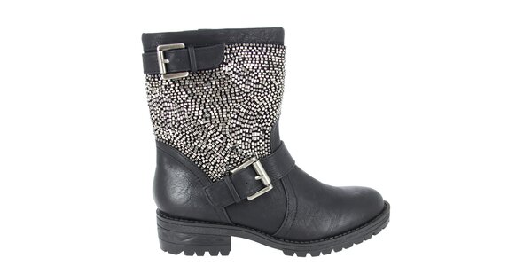 Dámské černé boty s korálky Shoes and the City