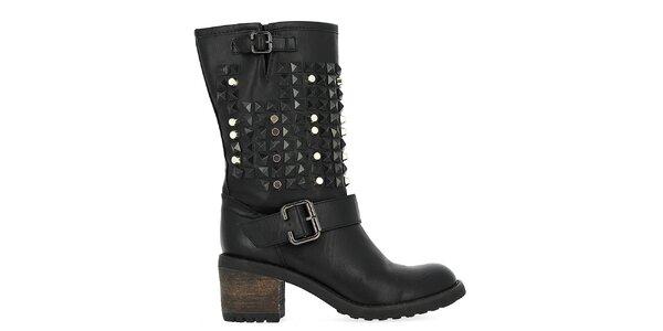 Dámské černé boty s nýty Shoes and the City
