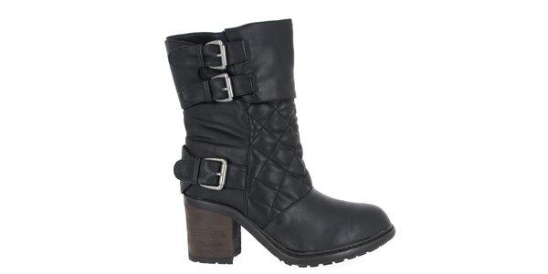 Dámské černé boty s prošíváním Shoes and the City