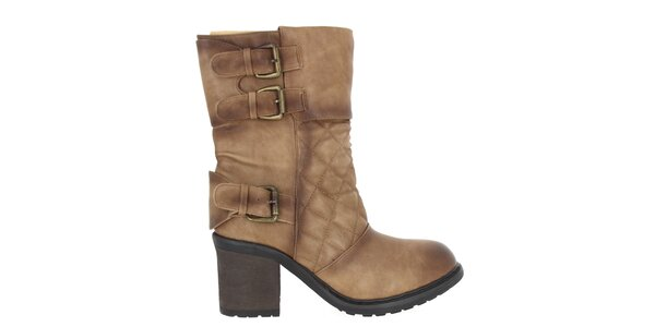 Dámské boty s prošíváním v hnědém odstínu Shoes and the City