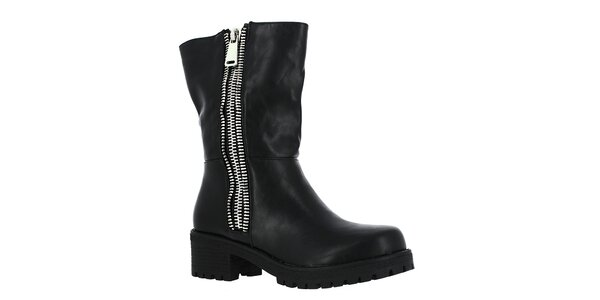 Dámské černé boty se stříbrnými zipy Shoes and the City