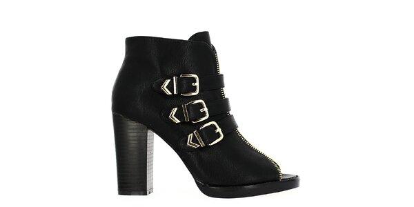 Dámské černé kotníčkové boty s otevřenou špičkou Shoes and the City 2ce61fa723