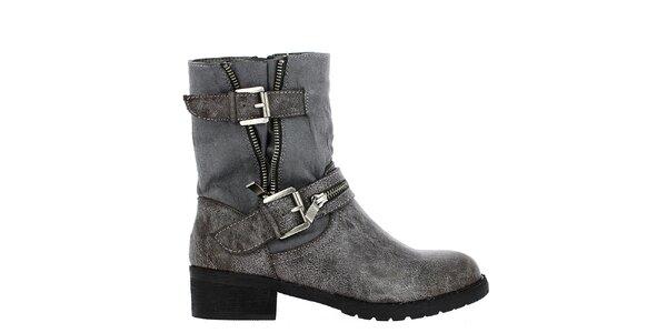 Dámské šedé kotníkové boty s přezkami Shoes and the City