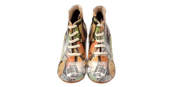 Dámské kotníčkové boty na klínku s disco potiskem Elite Goby