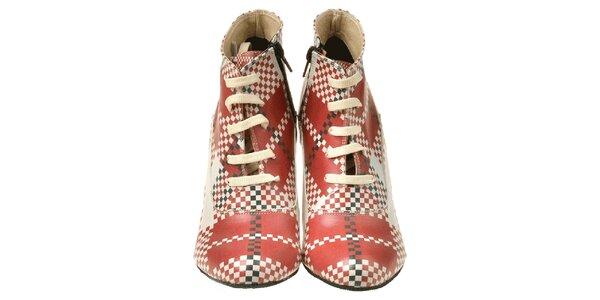 Dámské kotníčkové boty na klínku s kostičkovým vzorem Elite Goby
