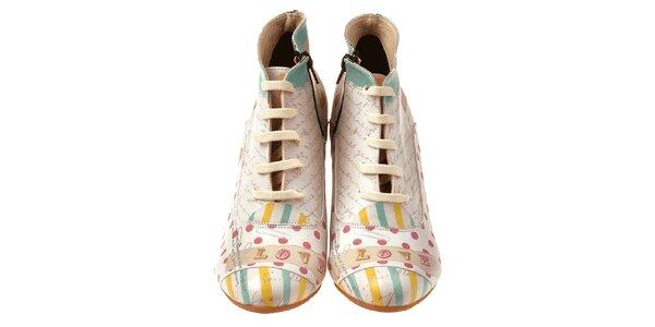 Dámské kotníčkové boty na klínku s nápisy a puntíky Elite Goby