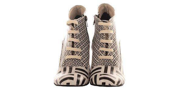 Dámské kotníčkové krémovo-černé boty Elite Goby