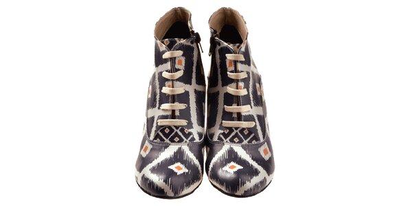 Dámské kotníčkové boty na klínku s černým potiskem Elite Goby