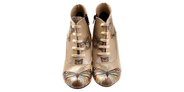 Dámské kotníčkové boty s barevnými motýlky Elite Goby